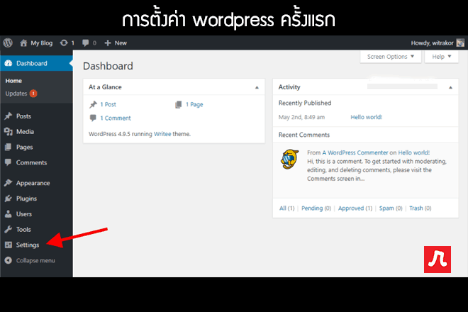 วิธีสร้างเว็บ ตั้งค่า wordpress